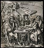 Five men (astronomers?) sitting around a table