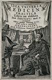 A man consulting a physician who is seated behind a table on which is a skull