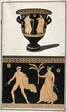 Above, a red-figured Greek wine bowl (krater)