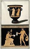 Above, red-figured Greek wine bowl (bell krater)