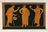 Detail of decoration of a red-figured Greek vessel showing three youths, one holding a ball, one holding a lyre ?