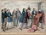 The Lord Mayor and officers of the Irish corporations are hustled through a door by conservatives Sir Robert Peel, Sir …