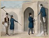 """The Duke of Wellington stands at the top of a ladder tearing down a poster while Lord Lyndhurst paints a message """"bill …"""