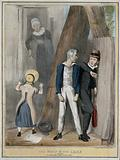 Lord Brougham, a bully, picks on Lord Melbourne while a girl in a bonnet summons an elderly woman with the face of the …