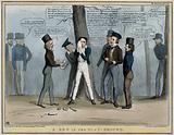 """Lord Durham stands nursing his eye from a missile inscribed """"act of indemnity"""" thrown by Lord Brougham who stands to …"""