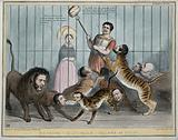Daniel O'Connell about to feed a loaf of bread to a cage full of big cats with the heads of politicians, Queen …