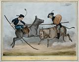 Lord Durham and Lord Brougham jousting, Durham about to be unseated