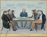 A group of politicians debate at a coroner's inquest whether Lord Melbourne's temporary resignation was equivalent to …
