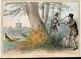 Lord Melbourne and the Marquess of Normanby prepare to shoot two pheasants with the heads of the Duke and Duchess of …