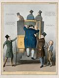 John Bull climbs on board a coach helped up by the Duke of Wellington with Sir Robert Peel in the driving seat