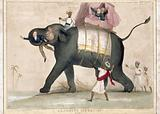An elephant running wild with Lord Aukland in its trunk