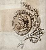 A medallion of the head of a philosopher, in profile, with the staff of Hermes (caduceus)