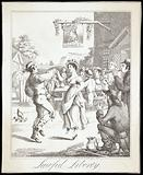 A man and woman dance outside a tavern named after George IV, a man plays a pipe and people sit drinking decorously