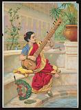 A seated Indian woman plays a sitar next to a garden pond