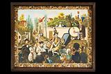 Clockwork picture of an itinerant dentist performing an extraction in French rural scene, wood frame, metal workings, …