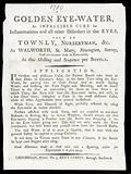 Trade card advertising 'Golden Eye-Water', England, 1780