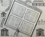Engraving of the Oxford Physic Garden, England, 1675