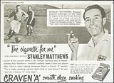 Advertisment for Craven 'A' cigarettes featuring Stanley Mat