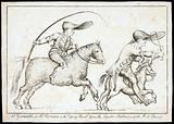 Joseph Grimaldi rides on horseback behind Richard Norman astride a tiny horse in a hunting episode of the pantomime, …