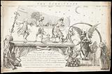 Tombstone. George Grenville, Lord Bute and the Duke of Bedford dance on the tombstone of the Duke of Cumberland to the …