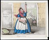 A drunken woman standing in the street in St Giles's, London