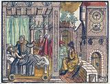 King Hezekiah on his sickbed asks Isaiah for a sign that he will recover