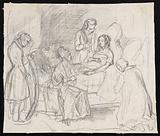 A young woman on her deathbed surrounded by four people: one of them holds a mirror in front of her