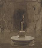 Subterranean Pool with Sculptural Torchere