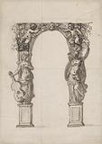 Design for a Temporary Arch Ornamented with Putti and Allegorical Figures of Music and War