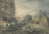 A Stagecoach and Four Dashing Through a Village on the Bath-London Road