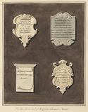 Memorials to Mrs Mary Staunton, John Silvester, Mrs Frances Whiterly and Mrs Rebecca Lone from Bedfont Church