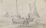 Sketch of a Group Preparing the Sails near the Shore, Hastings