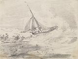 A Sailing Vessel in Rough Seas, Hastings