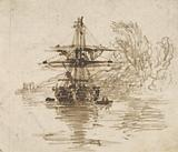 A Brig at Anchor, Trees Beyond