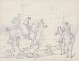 """""""Scraps"""", no. 22: Hunting, Unkennelling with Two Riders Watching."""