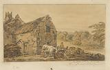 Cottage and Two Cows Being Milked
