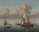 A Kaag at Anchor with Sails Hoisted and a State Yacht and Other Vessels