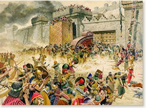 Samaria falling to the Assyrians by Don Lawrence